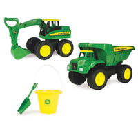 John Deere 38cm Dump Truck and Excavator with Bucket