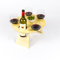 Round Natural Folding Picnic/Wine Table