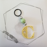 Letter C Keyring - Yellow